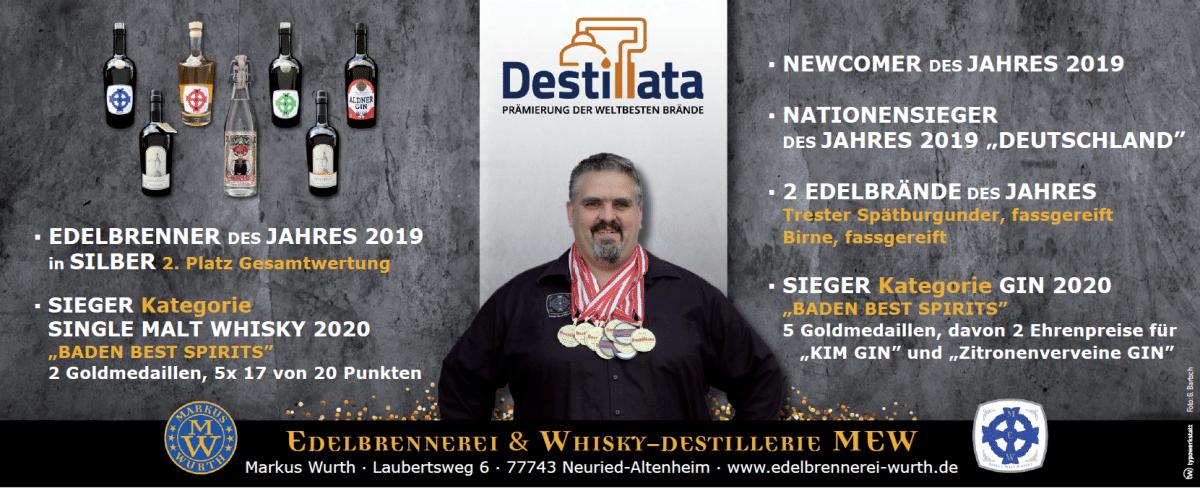Edelbrennerei Wurth mehrfach ausgezeichnet für Gin und Whisky bei der Baden Best Spirits 2020