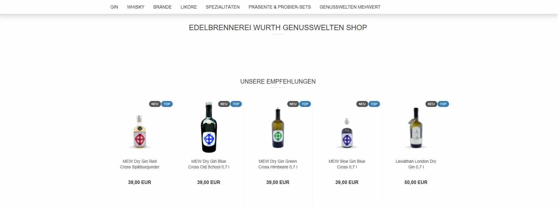 Gin Online Shop - der genusswelten Shop der Edelbrennerei Wurth